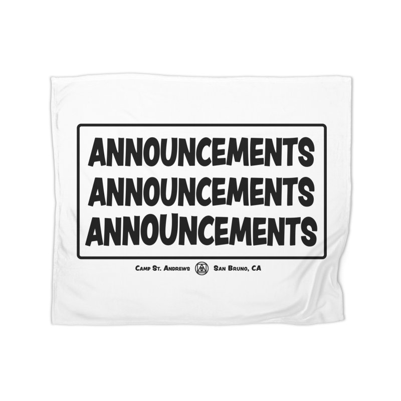 Announcements (black) Home Blanket by Camp St. Andrews