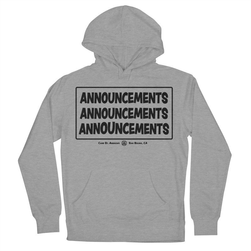 Announcements (black) Women's Pullover Hoody by Camp St. Andrews