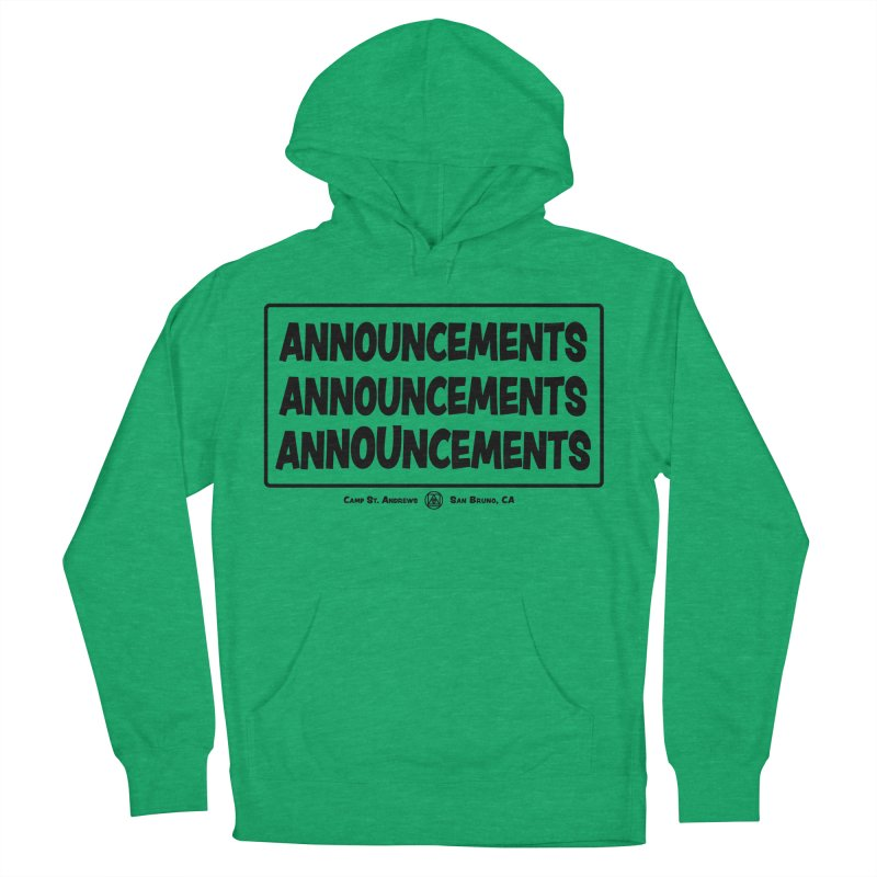 Announcements (black) Men's Pullover Hoody by Camp St. Andrews