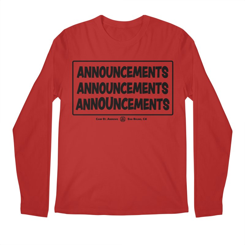Announcements (black) Men's Longsleeve T-Shirt by Camp St. Andrews