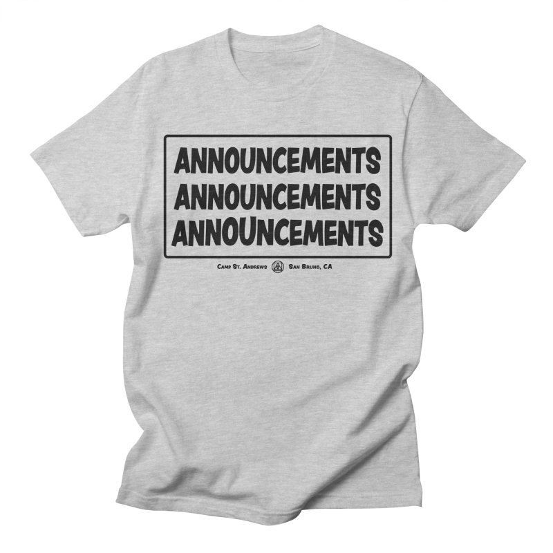 Announcements (black) Men's Regular T-Shirt by Camp St. Andrews
