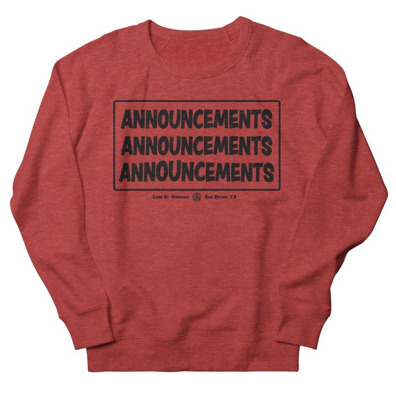 Announcements (black) Women's Sweatshirt by Camp St. Andrews