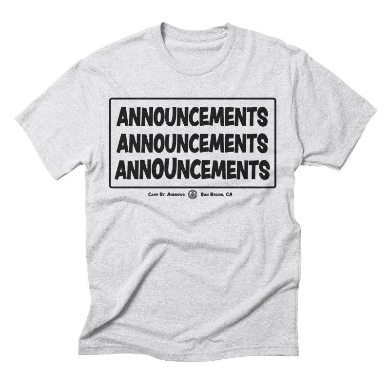 Announcements (black) Men's Triblend T-Shirt by Camp St. Andrews