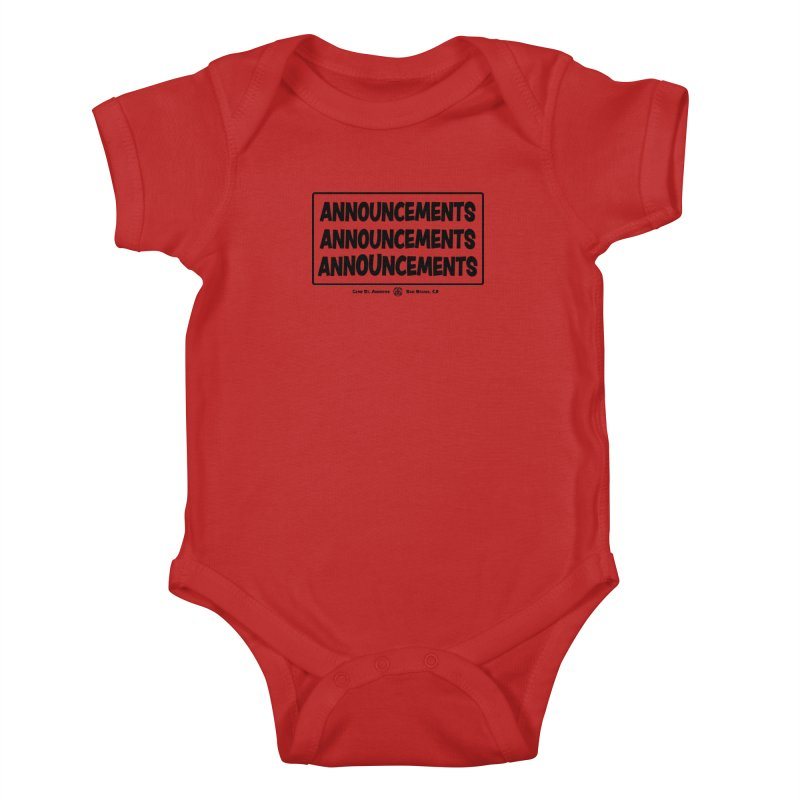 Announcements (black) Kids Baby Bodysuit by Camp St. Andrews