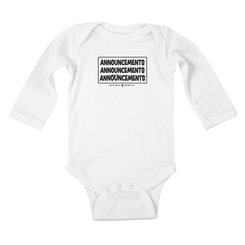 Announcements (black) Kids Baby Longsleeve Bodysuit by Camp St. Andrews