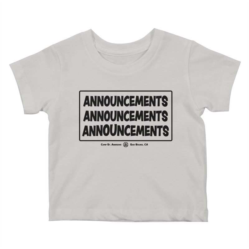 Announcements (black) Kids Baby T-Shirt by Camp St. Andrews