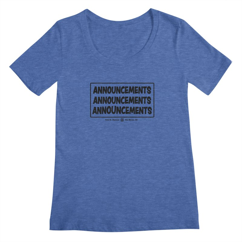 Announcements (black) Women's Scoopneck by Camp St. Andrews