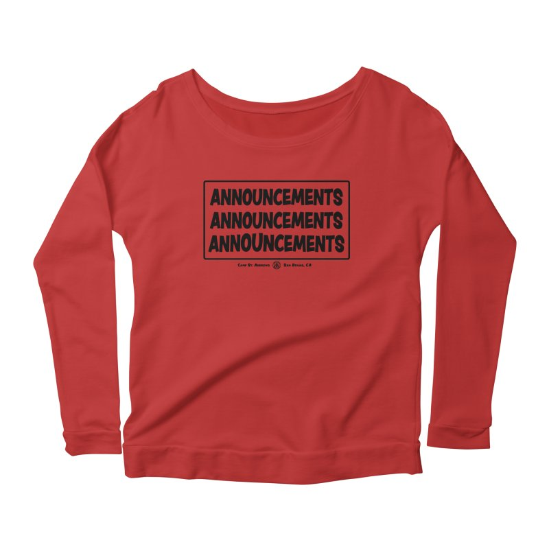 Announcements (black) Women's Scoop Neck Longsleeve T-Shirt by Camp St. Andrews