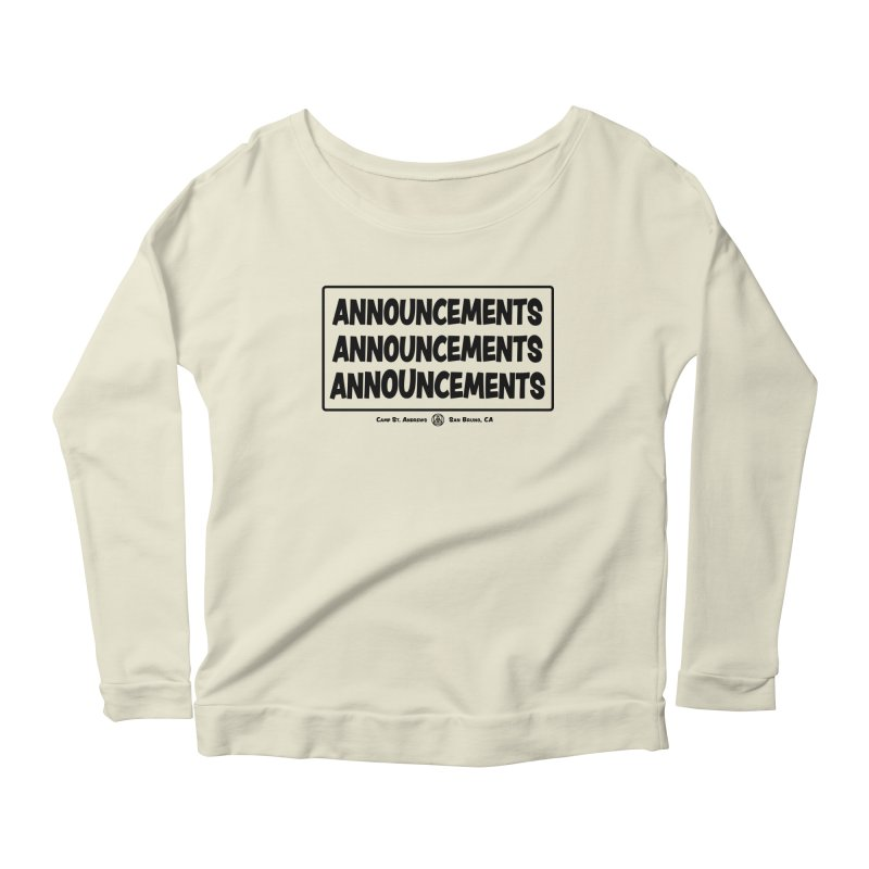Announcements (black) Women's Longsleeve Scoopneck  by Camp St. Andrews