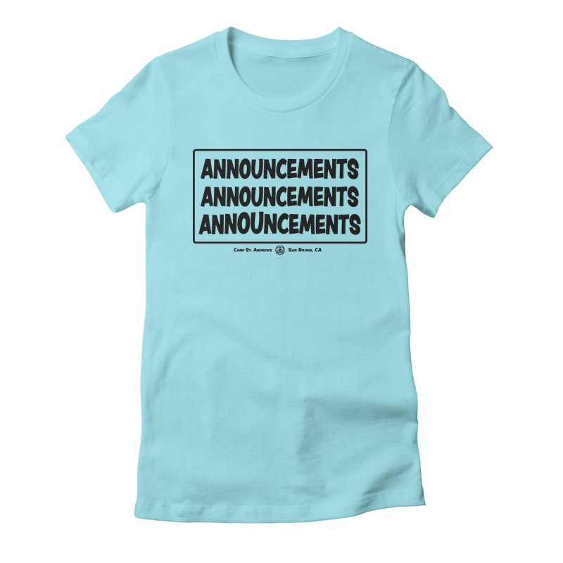 Announcements (black) Women's Fitted T-Shirt by Camp St. Andrews