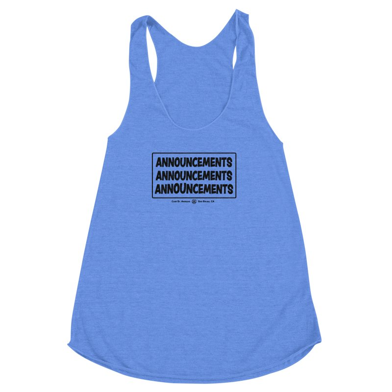 Announcements (black) Women's Racerback Triblend Tank by Camp St. Andrews