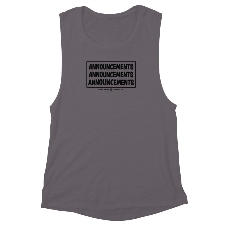 Announcements (black) Women's Muscle Tank by Camp St. Andrews
