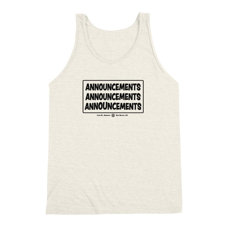 Announcements (black) Men's Triblend Tank by Camp St. Andrews