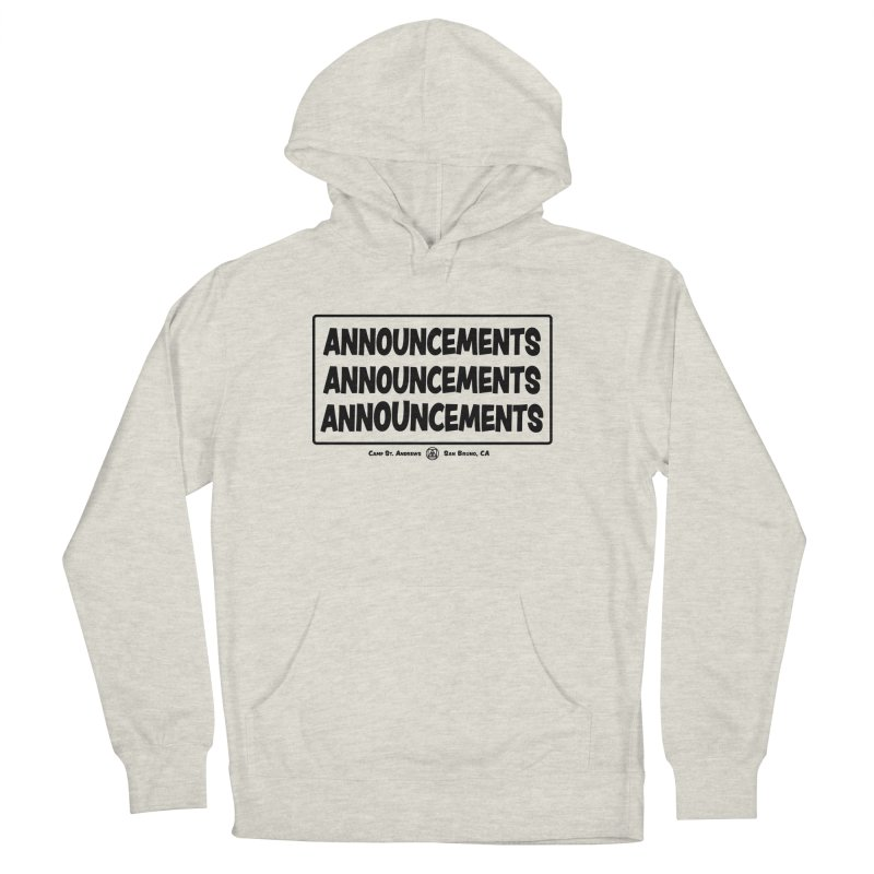 Announcements (black) Men's French Terry Pullover Hoody by Camp St. Andrews