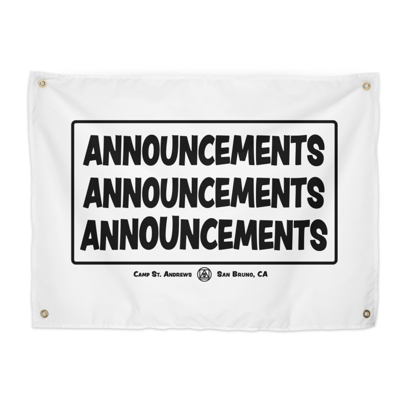 Announcements (black) Home Tapestry by Camp St. Andrews