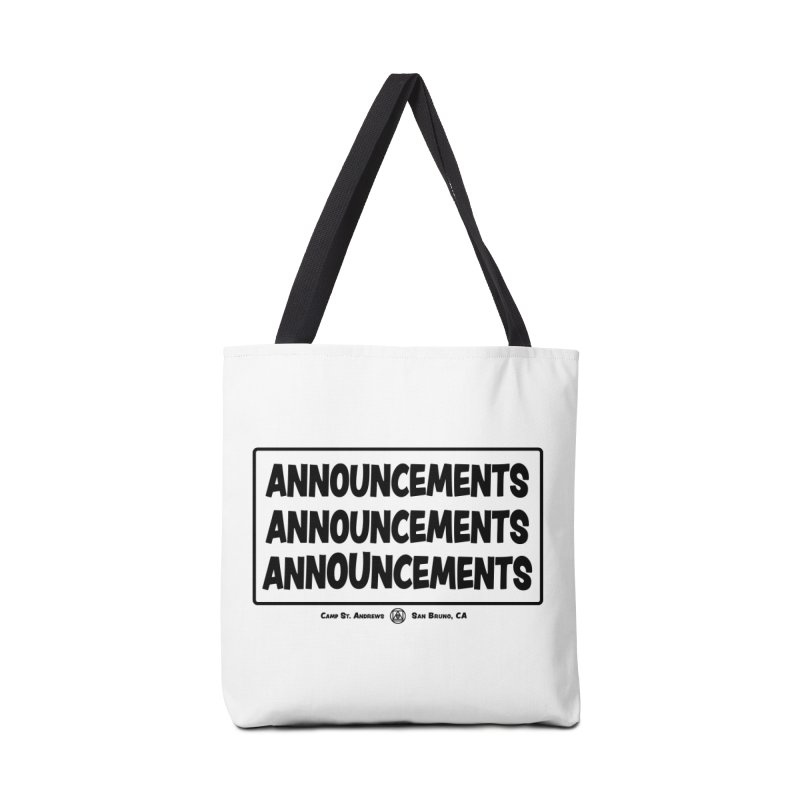 Announcements (black) Accessories Bag by Camp St. Andrews