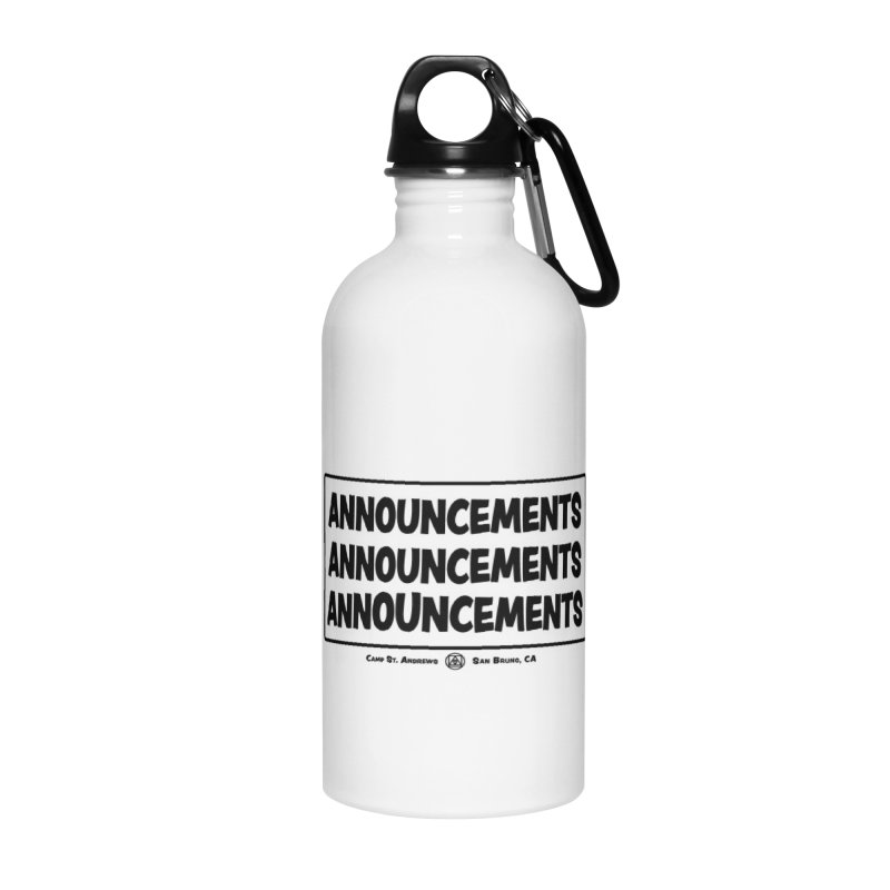 Announcements (black) Accessories Water Bottle by Camp St. Andrews