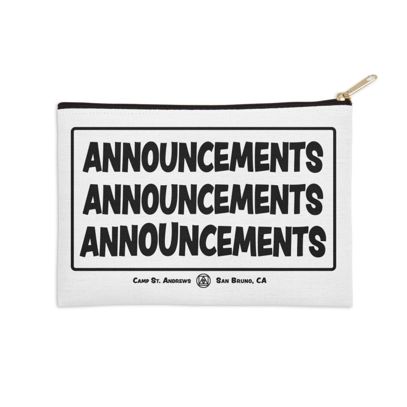 Announcements (black) Accessories Zip Pouch by Camp St. Andrews