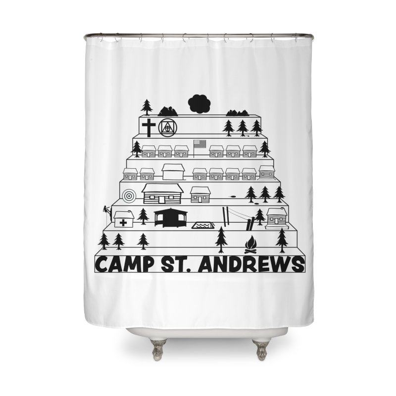 Stairs (black) Home Shower Curtain by Camp St. Andrews