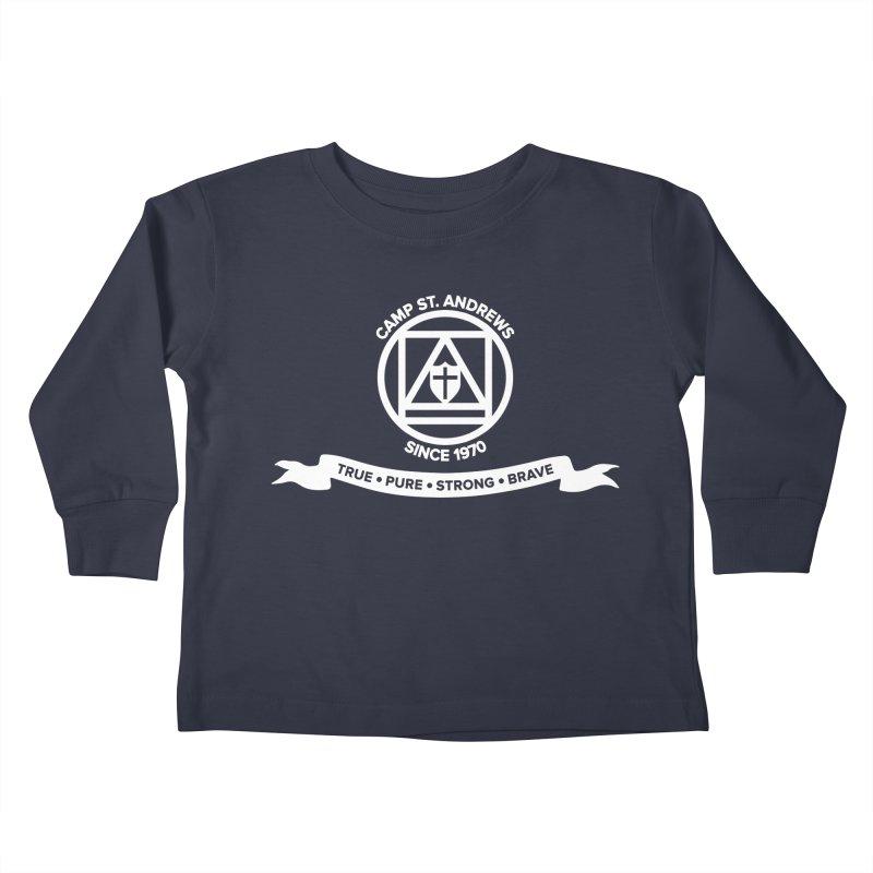 CSA Emblem (white) Kids Toddler Longsleeve T-Shirt by Camp St. Andrews