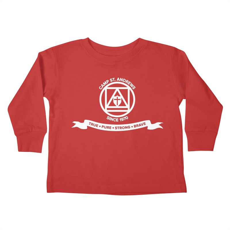 CSA Emblem (white) Kids Toddler Longsleeve T-Shirt by Camp St. Andrews