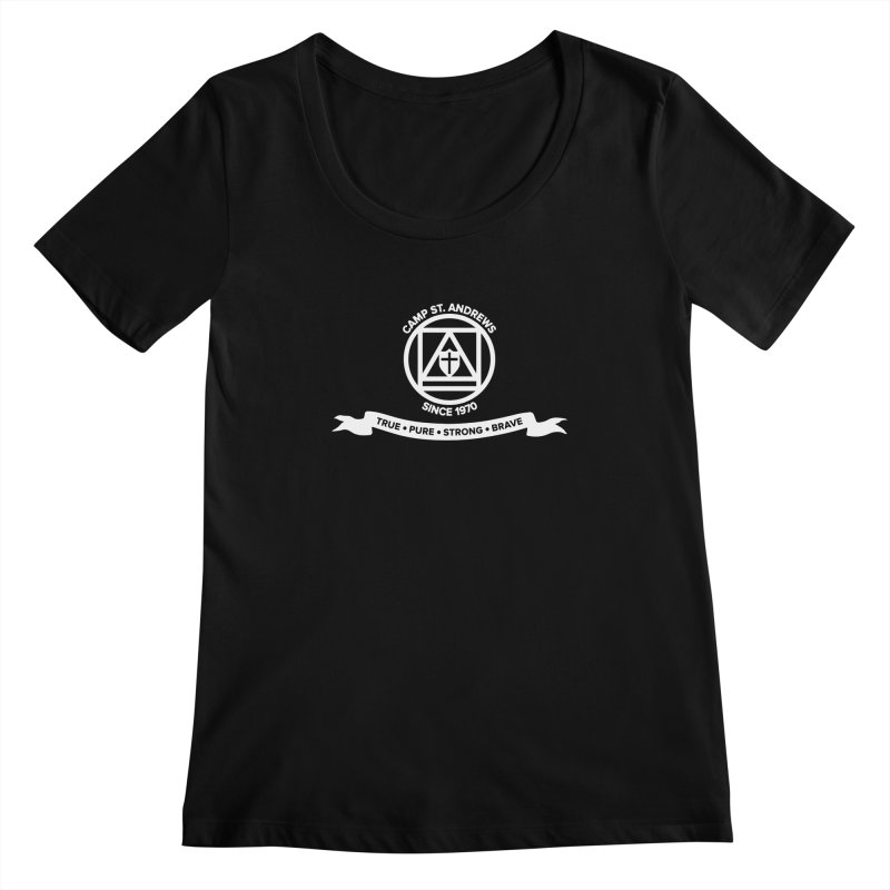 CSA Emblem (white) Women's Scoopneck by Camp St. Andrews