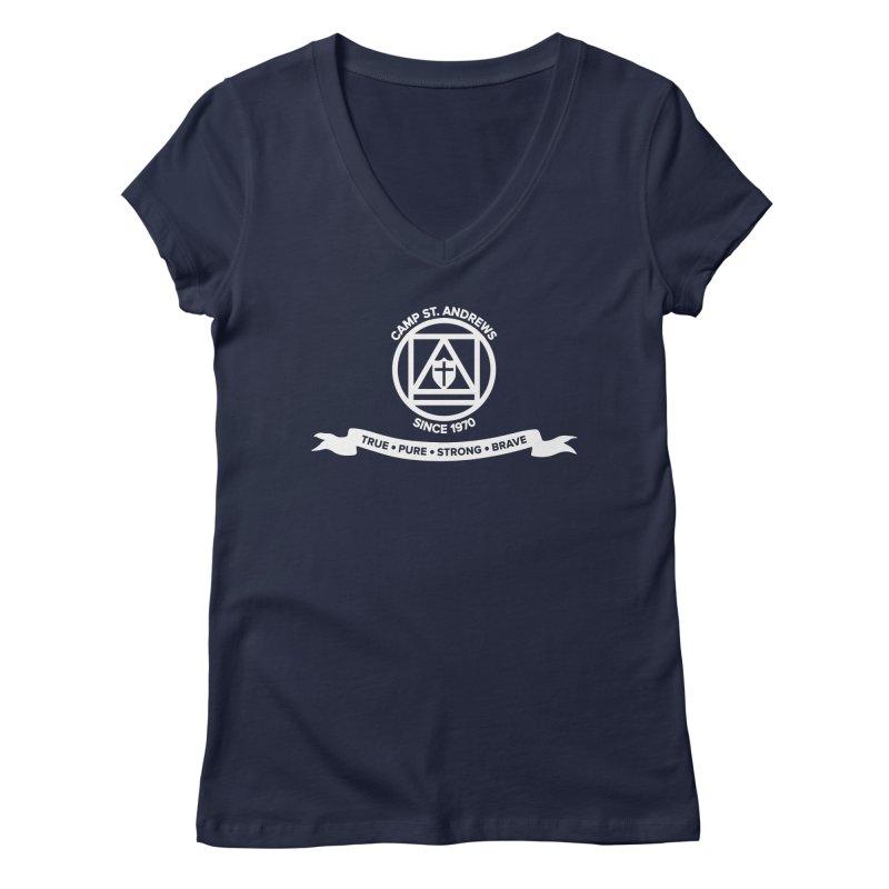 CSA Emblem (white) Women's V-Neck by Camp St. Andrews