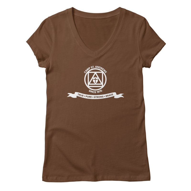 CSA Emblem (white) Women's V-Neck by Camp St. Andrews