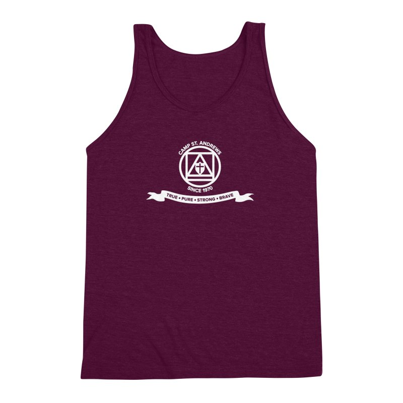 CSA Emblem (white) Men's Triblend Tank by Camp St. Andrews