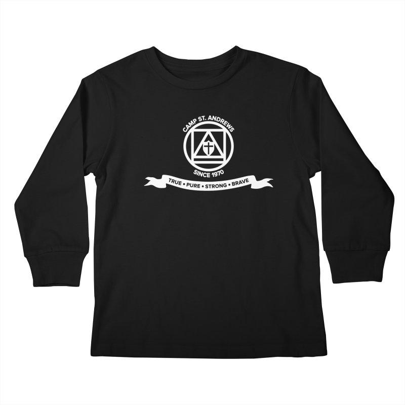CSA Emblem (white) Kids Longsleeve T-Shirt by Camp St. Andrews