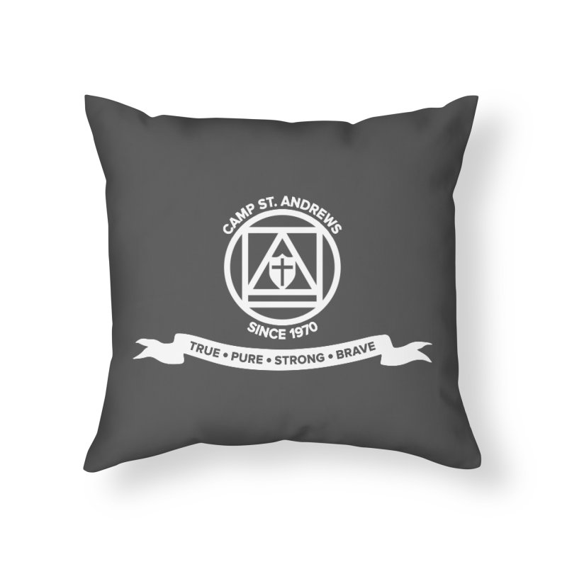 CSA Emblem (white) Home Throw Pillow by Camp St. Andrews