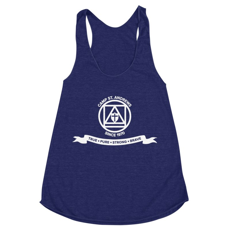 CSA Emblem (white) Women's Racerback Triblend Tank by Camp St. Andrews