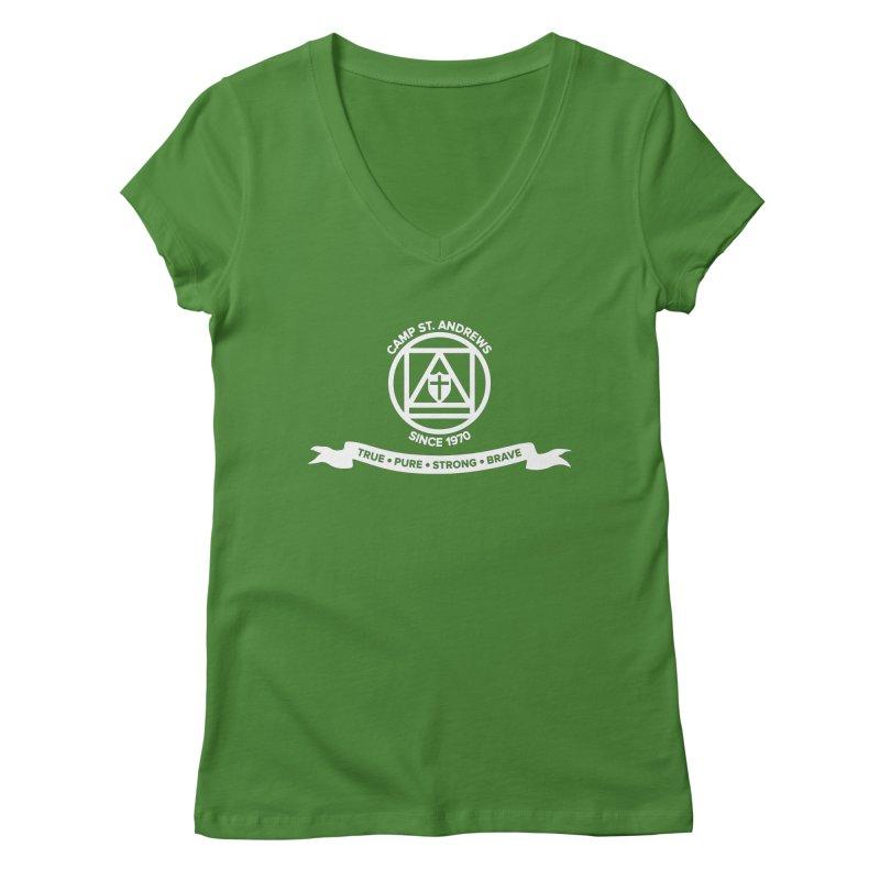 CSA Emblem (white) Women's Regular V-Neck by Camp St. Andrews