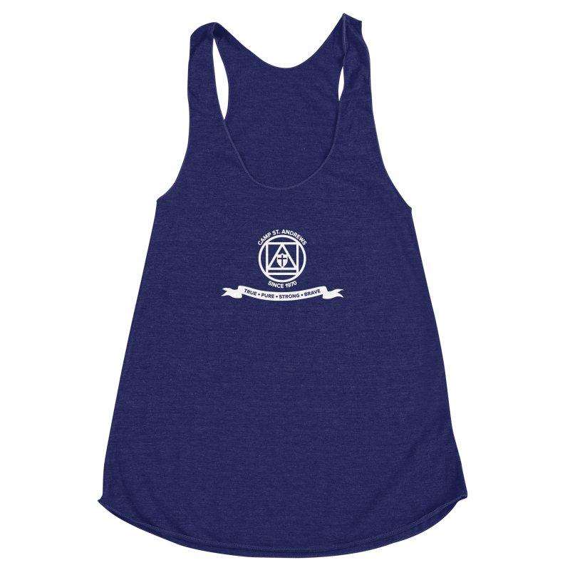 CSA Emblem (white) Women's Racerback Triblend Tank by Camp St. Andrews