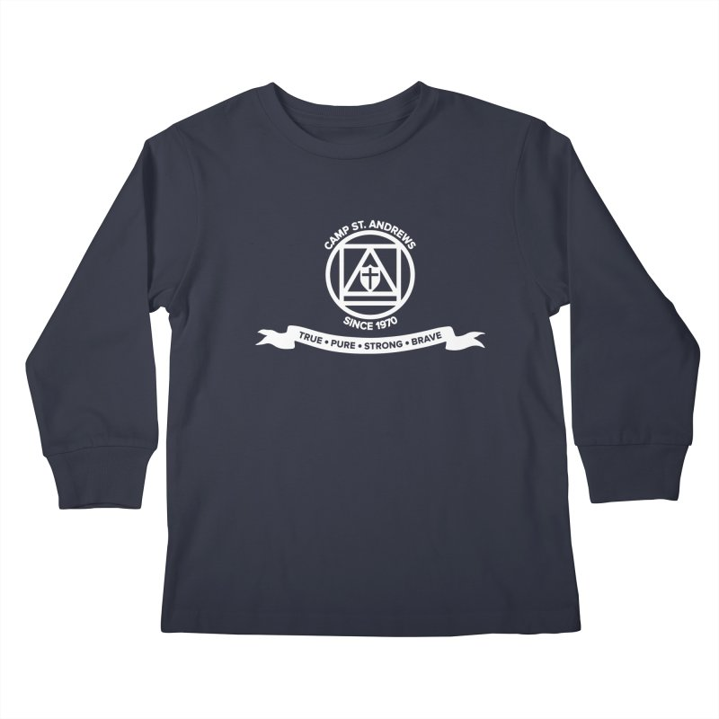 CSA Emblem (white) Kids Longsleeve T-Shirt by Camp St. Andrews