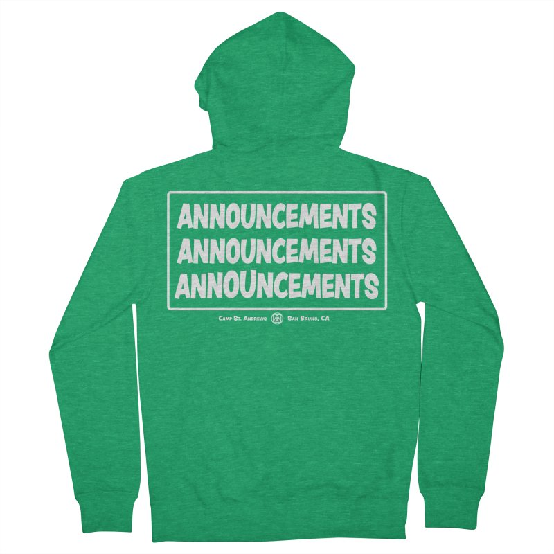 Announcements (white) Women's Zip-Up Hoody by Camp St. Andrews