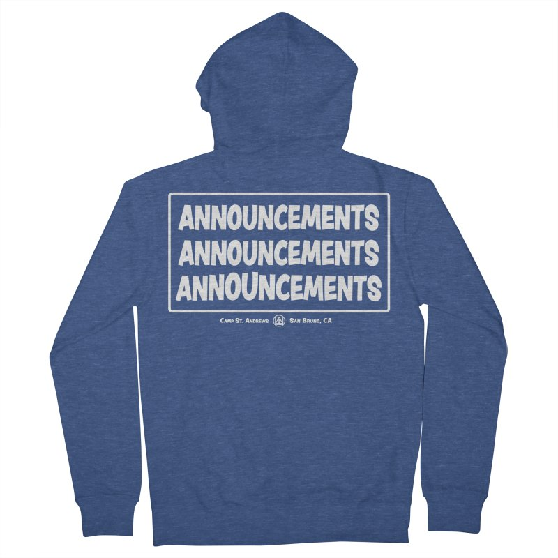 Announcements (white) Men's Zip-Up Hoody by Camp St. Andrews