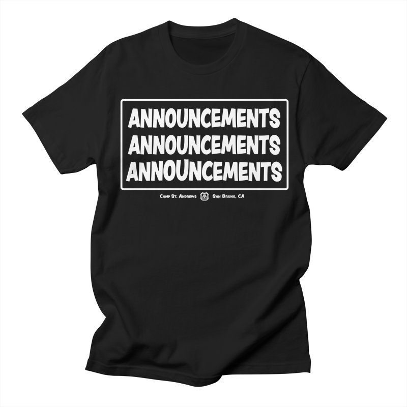 Announcements (white) Women's Regular Unisex T-Shirt by Camp St. Andrews