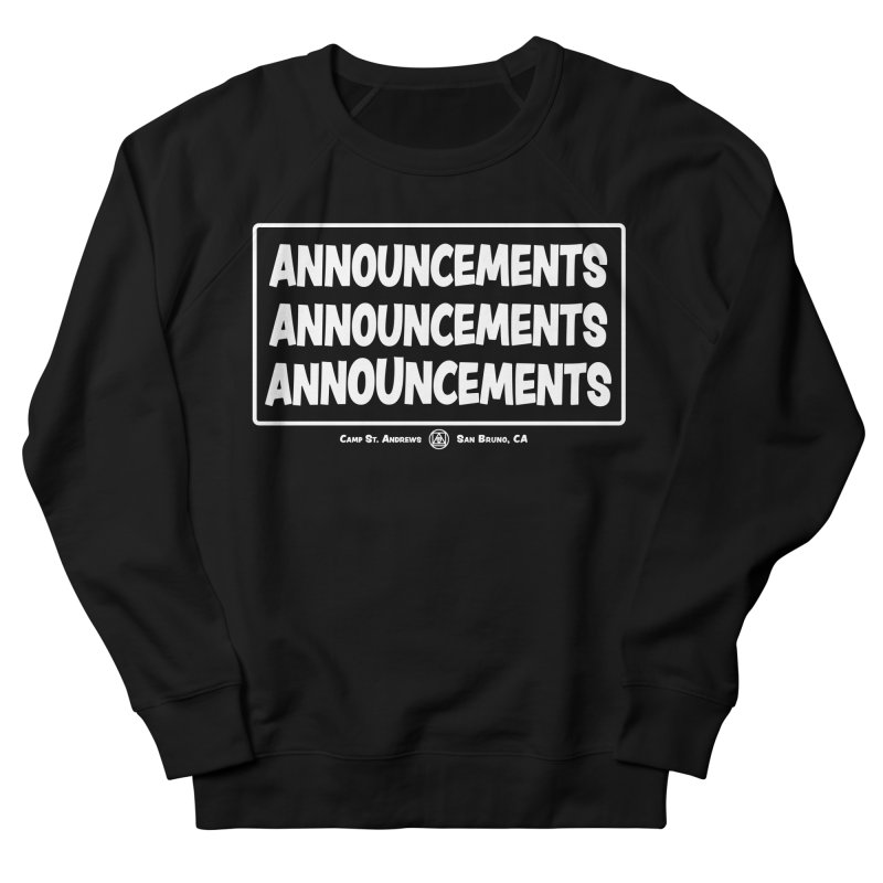Announcements (white) Women's Sweatshirt by Camp St. Andrews