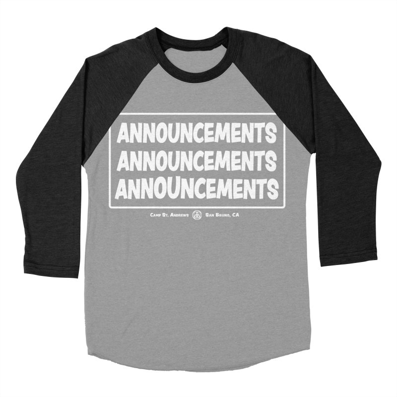 Announcements (white) Men's Baseball Triblend Longsleeve T-Shirt by Camp St. Andrews