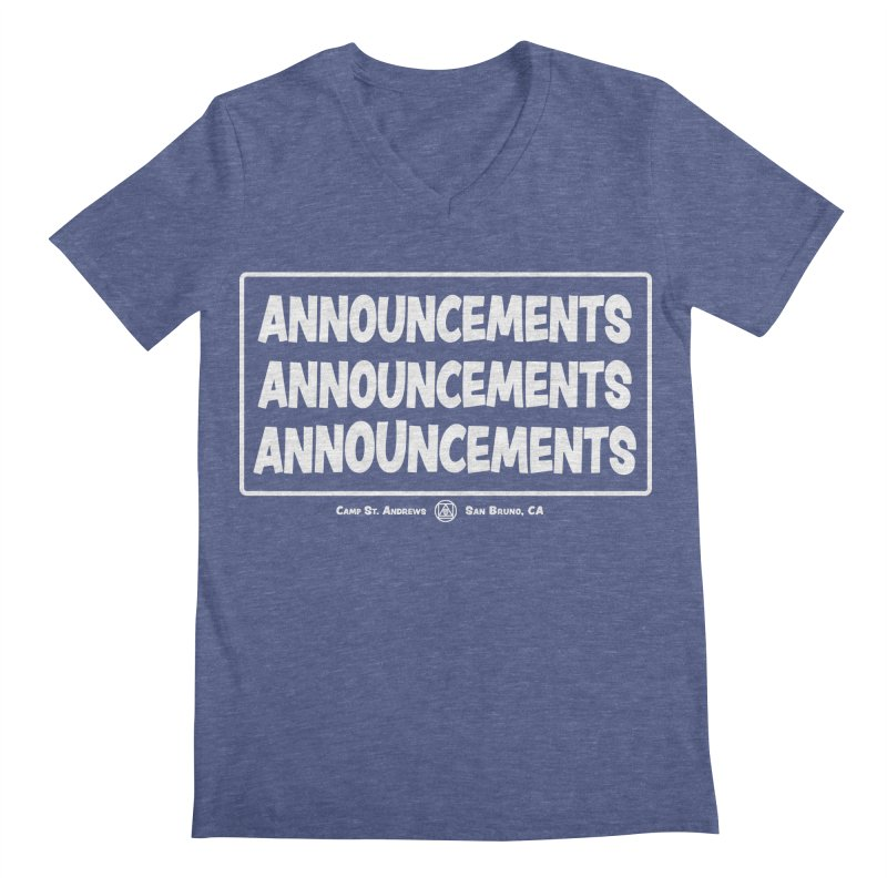 Announcements (white) Men's V-Neck by Camp St. Andrews