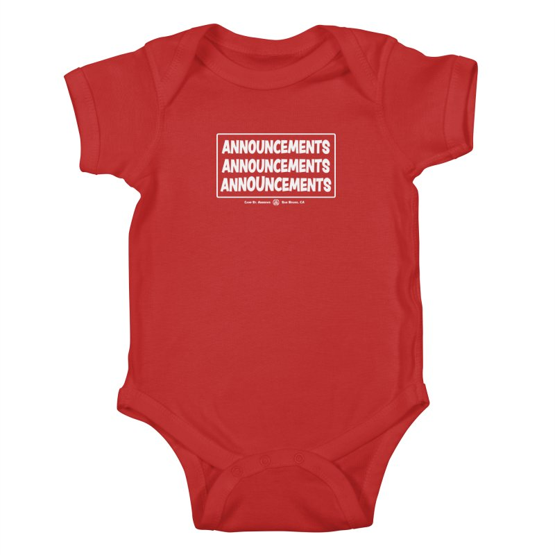 Announcements (white) Kids Baby Bodysuit by Camp St. Andrews