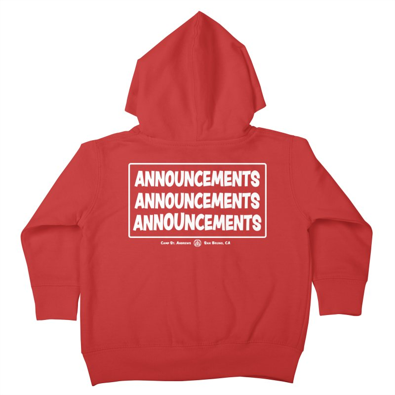 Announcements (white) Kids Toddler Zip-Up Hoody by Camp St. Andrews