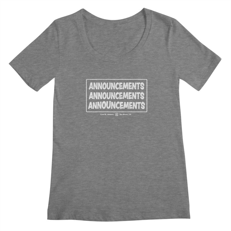 Announcements (white) Women's Scoopneck by Camp St. Andrews