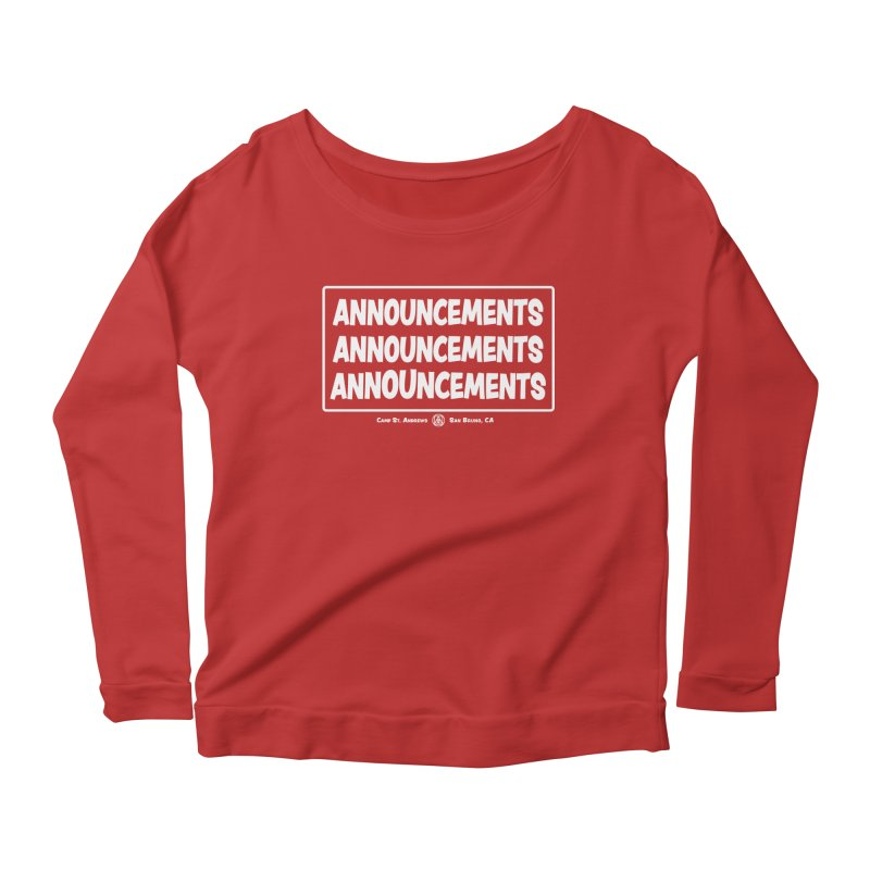 Announcements (white) Women's Longsleeve Scoopneck  by Camp St. Andrews
