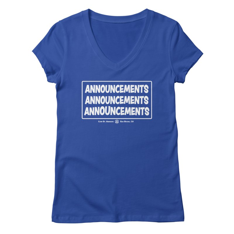 Announcements (white) Women's Regular V-Neck by Camp St. Andrews