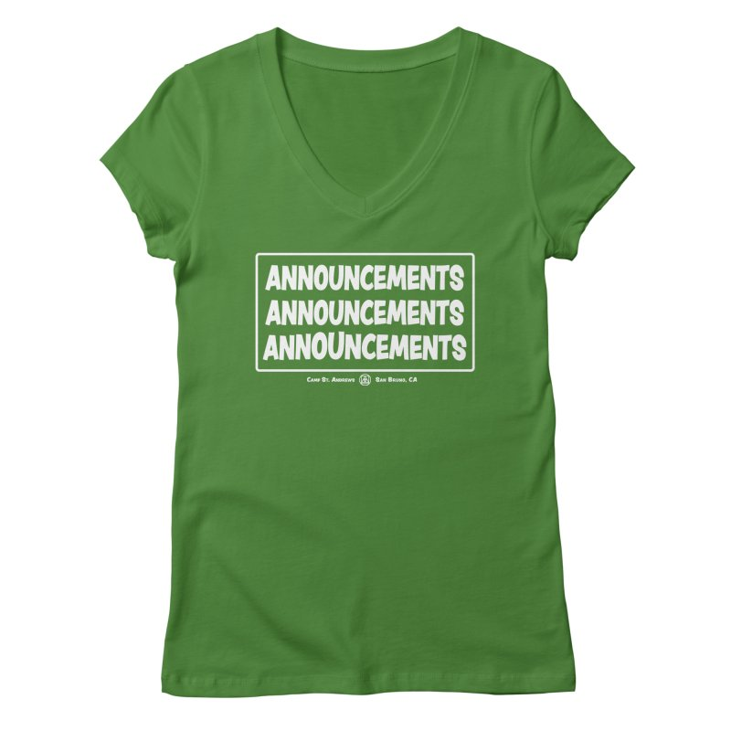 Announcements (white) Women's V-Neck by Camp St. Andrews