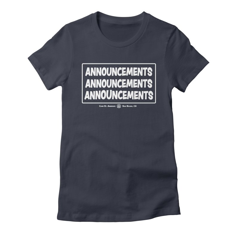 Announcements (white) Women's Fitted T-Shirt by Camp St. Andrews