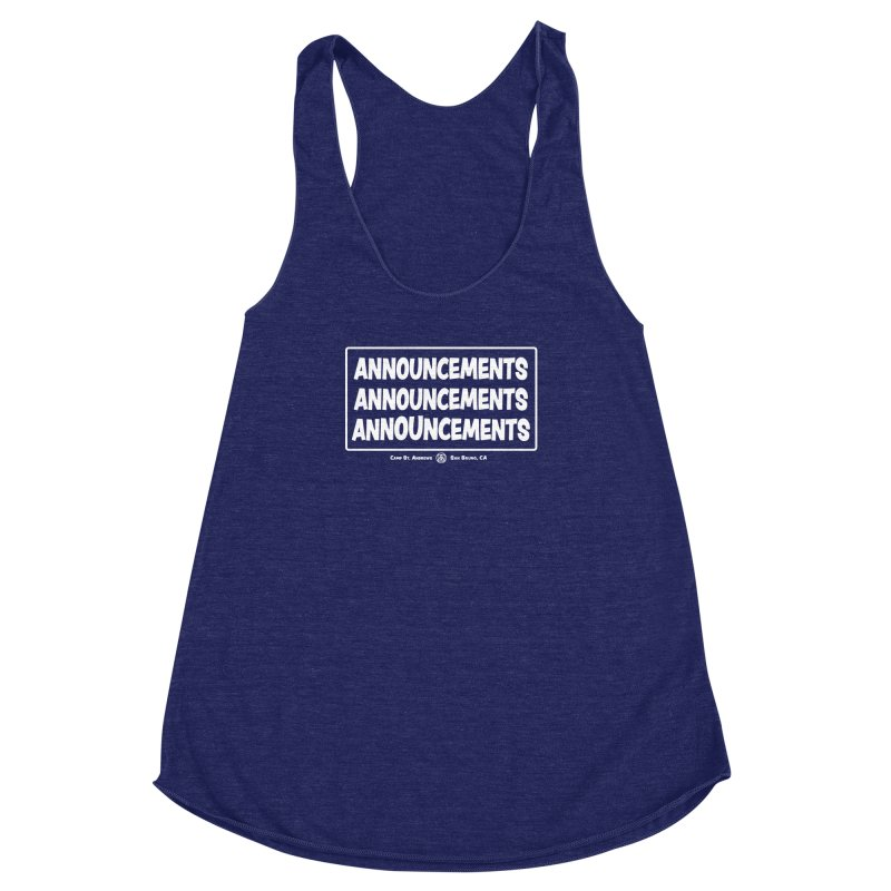 Announcements (white) Women's Racerback Triblend Tank by Camp St. Andrews