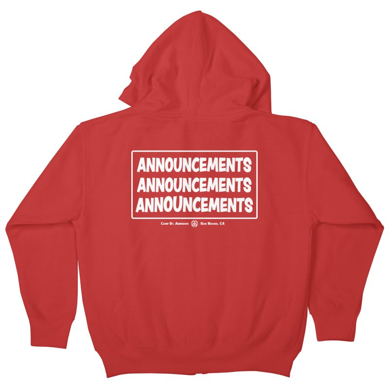 Announcements (white) Kids Zip-Up Hoody by Camp St. Andrews